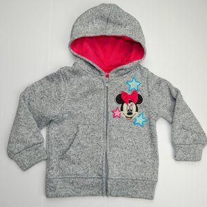 Disney Minnie Mouse Girl 2T Full Zip Fleece Hoodie